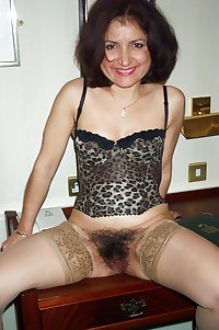 legs in stockings and hairy pussy