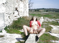 Nude females, hairy pussies, outdoors, open coat.